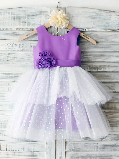 Ankle-length Multi Colours Satin Tulle Tiered and Flower(s) Flower Scoop Neck Girl Dress #DOB01031851