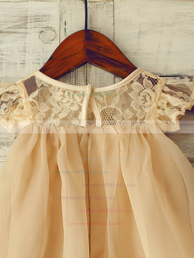Simple Champagne Lace Chiffon with Cap Straps Scoop Neck Short/Mini Flower Girl Dress #DOB01031852