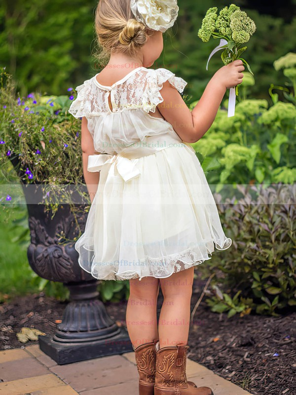 Short/Mini Scoop Neck White Lace Organza Sashes/Ribbons Modern Flower Girl Dress #DOB01031853
