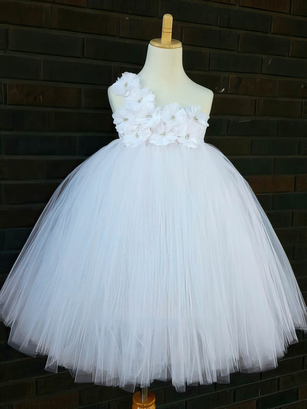 Cheap White Tulle Ankle-length Flower(s) One Shoulder Flower Girl Dresses #DOB01031854
