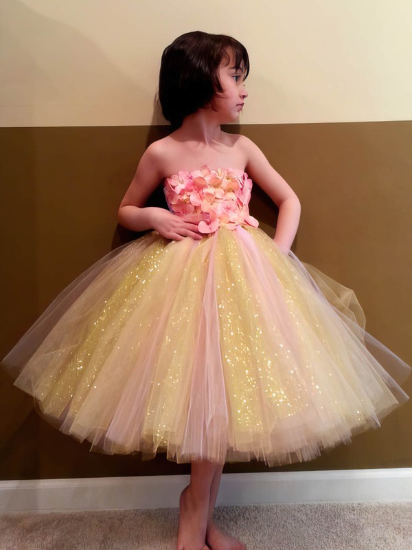 Ball Gown Bow Multi Colours Tulle Detachable Straps Flower Girl Dress #DOB01031855