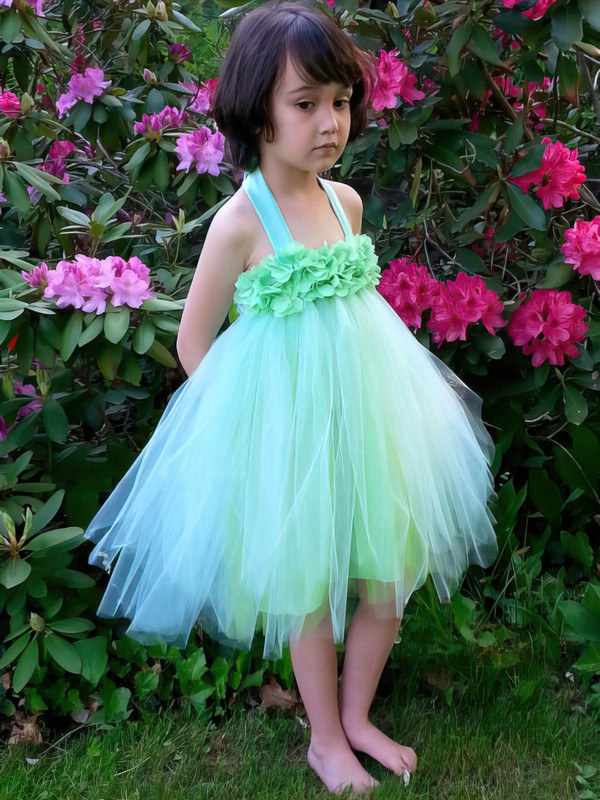 Simple Tulle Ruffles Knee-length Halter Empire Flower Girl Dresses #DOB01031856
