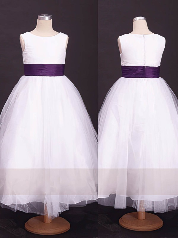 Girls Ankle-length Scoop Neck Sashes/Ribbons White Tulle Flower Girl Dress #DOB01031857