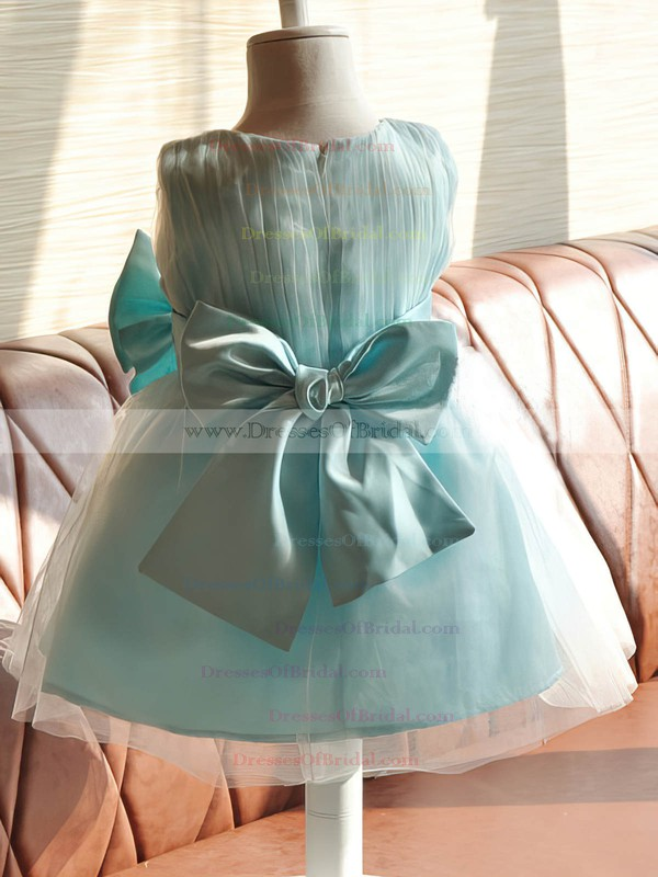 Emerald Satin Tulle Bow Knee-length Scoop Neck Online Flower Girl Dresses #DOB01031858