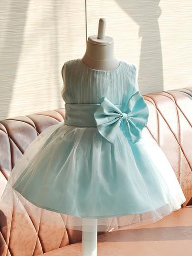 Emerald Satin Tulle Bow Knee-length Scoop Neck Online Flower Girl Dresses #DOB01031858