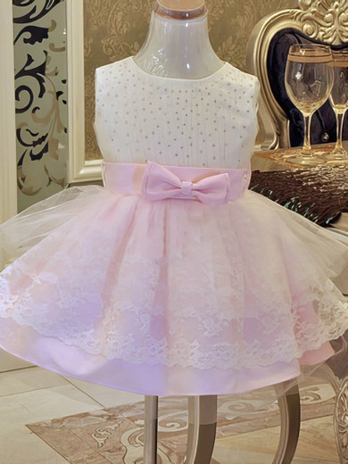 Popular Ball Gown Beading Scoop Neck Pink Satin Tulle Lace Flower Girl Dress #DOB01031859