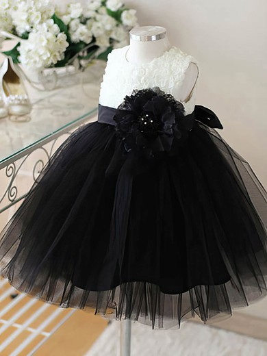 Black Tulle Ankle-length Flower(s) Scoop Neck Modern Flower Girl Dresses #DOB01031860