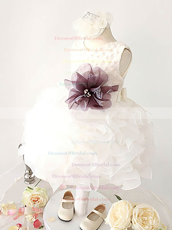 Scoop Neck Ball Gown White Organza with Flower(s) Nice Flower Girl Dresses #DOB01031861