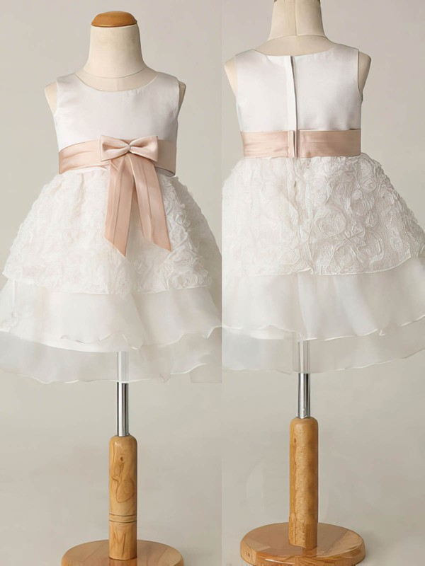 Short/Mini Ivory Chiffon Elastic Woven Satin Sashes/Ribbons Online Flower Girl Dresses #DOB01031863