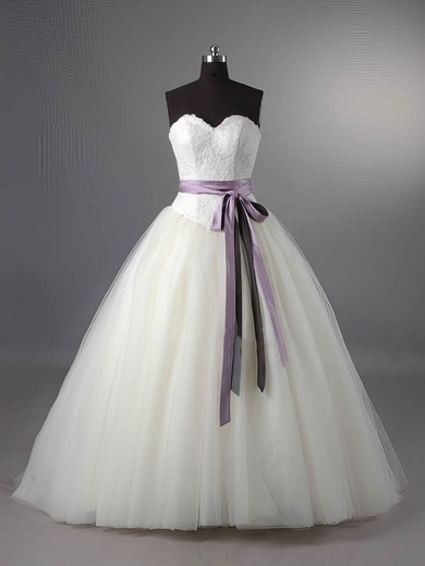 Sweetheart Ball Gown Sweep Train Tulle Sashes/Ribbons Wedding Dresses #DOB00011115