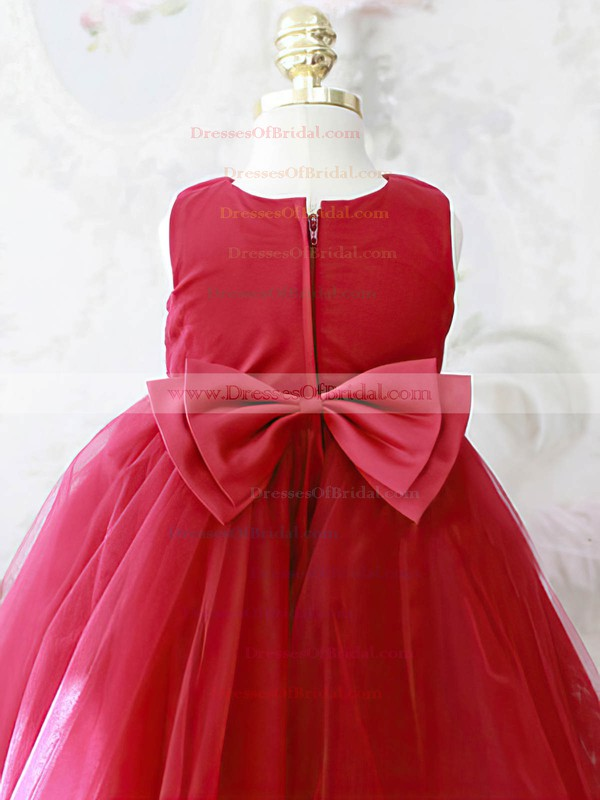 Designer Scoop Neck Ball Gown Tulle Elastic Woven Satin with Bow Red Flower Girl Dresses #DOB01031864
