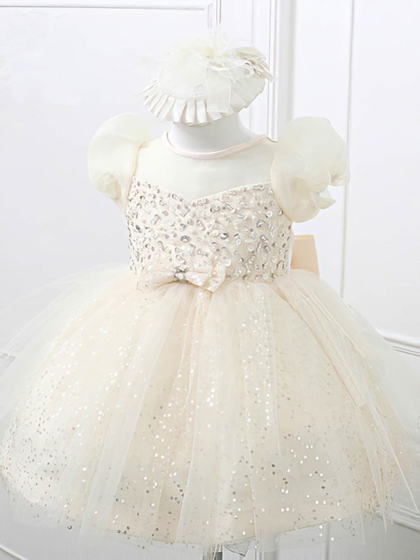 Ivory Knee-length Satin Tulle with Beading Scoop Neck Best Flower Girl Dresses #DOB01031866