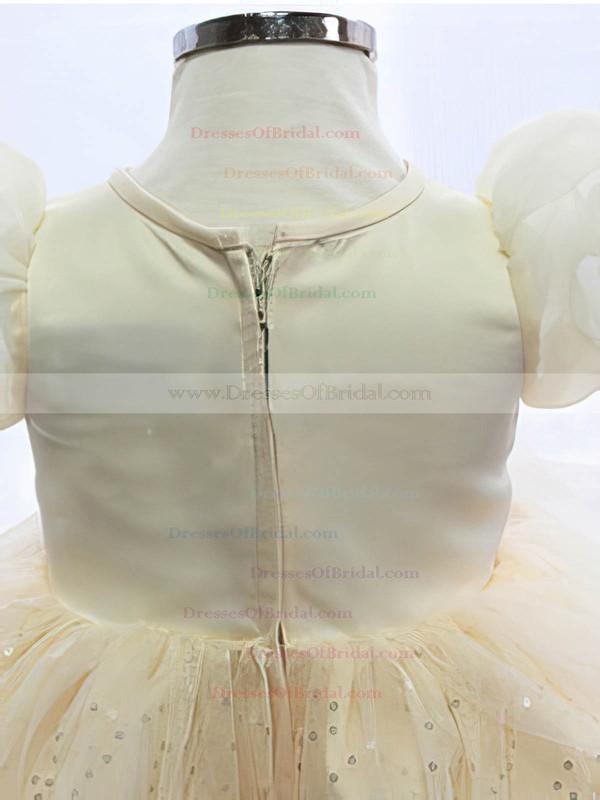 Ivory Knee-length Satin Tulle with Beading Scoop Neck Best Flower Girl Dresses #DOB01031866