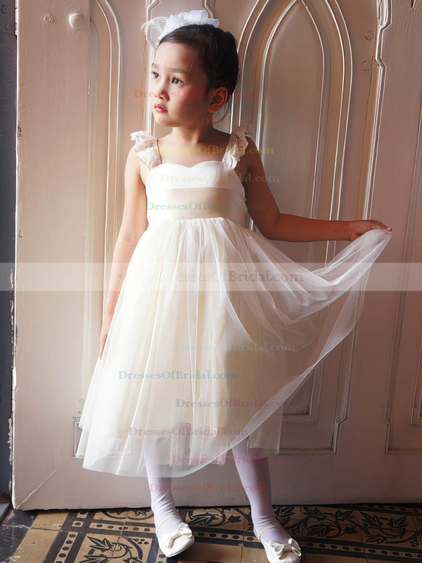 Girls Ivory Tulle with Sashes/Ribbons A-line Straps Square Neckline Flower Girl Dress #DOB01031867