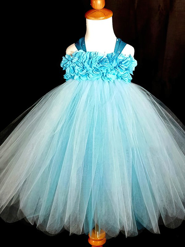 Affordable Empire Blue Tulle with Flower(s) Ankle-length Flower Girl Dresses #DOB01031868