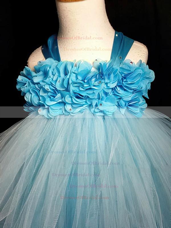 Affordable Empire Blue Tulle with Flower(s) Ankle-length Flower Girl Dresses #DOB01031868