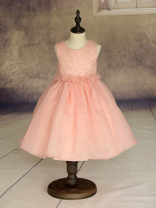 Ankle-length Orange Ruffles Organza Scoop Neck Beautiful Flower Girl Dresses #DOB01031869