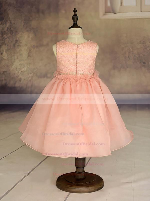 Ankle-length Orange Ruffles Organza Scoop Neck Beautiful Flower Girl Dresses #DOB01031869