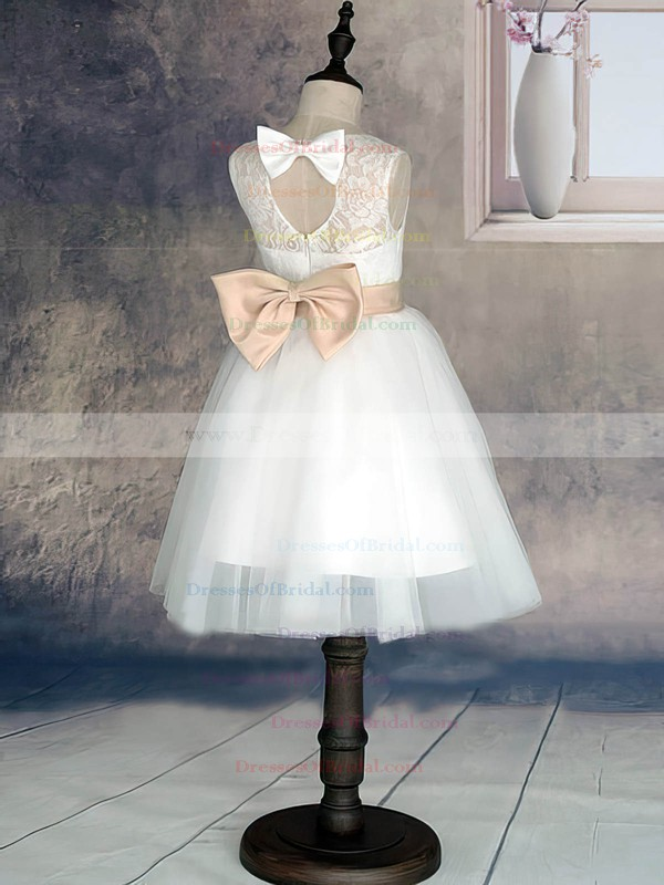 Simple Scoop Neck Lace Tulle with Sashes/Ribbons White Ankle-length Flower Girl Dress #DOB01031870