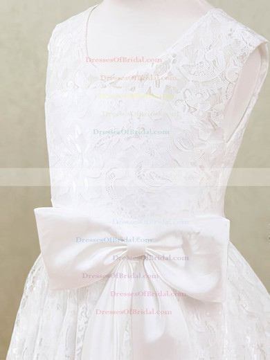 Scoop Neck Modern Ankle-length Lace with Sashes/Ribbons White Flower Girl Dresses #DOB01031871