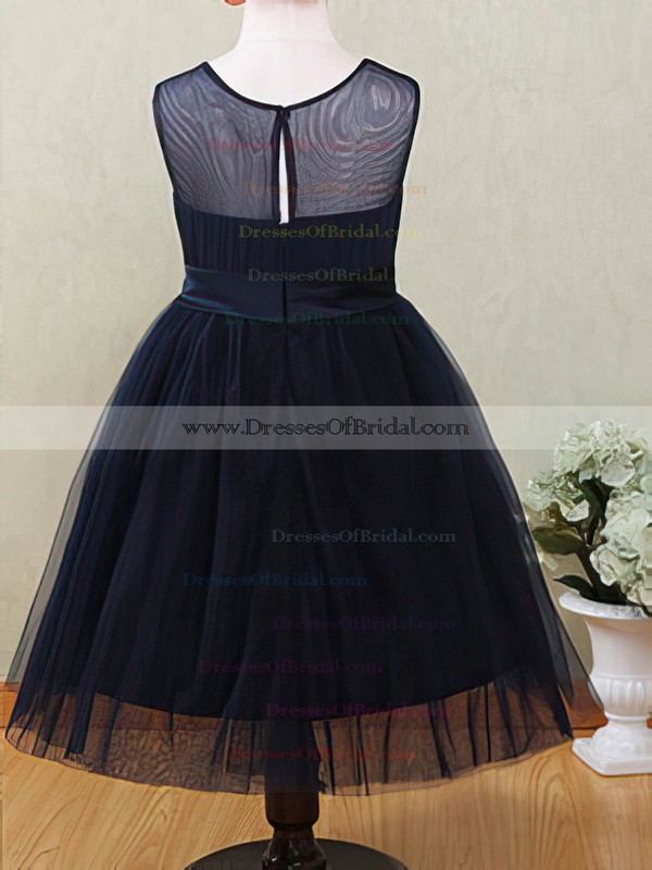 Dark Navy Tulle Ankle-length with Flower(s) Scoop Neck Custom Flower Girl Dresses #DOB01031872