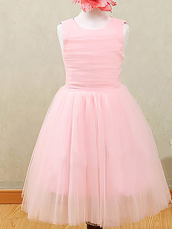 Different Ankle-length Tulle with Ruffles Scoop Neck Pink Flower Girl Dresses #DOB01031873