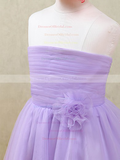 Strapless Tulle with Flower(s) Popular Lavender Ankle-length Flower Girl Dresses #DOB01031874