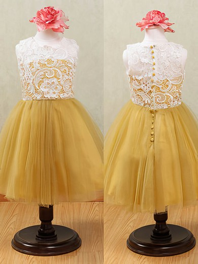 Ankle-length Lace Tulle Scoop Neck Covered Button Top Flower Girl Dress #DOB01031875
