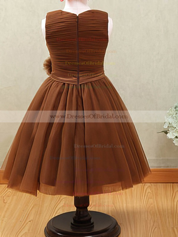 Cool Tulle with Flower(s) Brown Scoop Neck Ankle-length Flower Girl Dresses #DOB01031877
