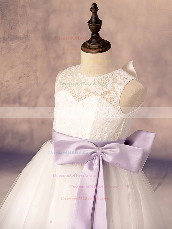 Scoop Neck Ankle-length Lace Tulle with Bow White Hot Flower Girl Dresses #DOB01031878