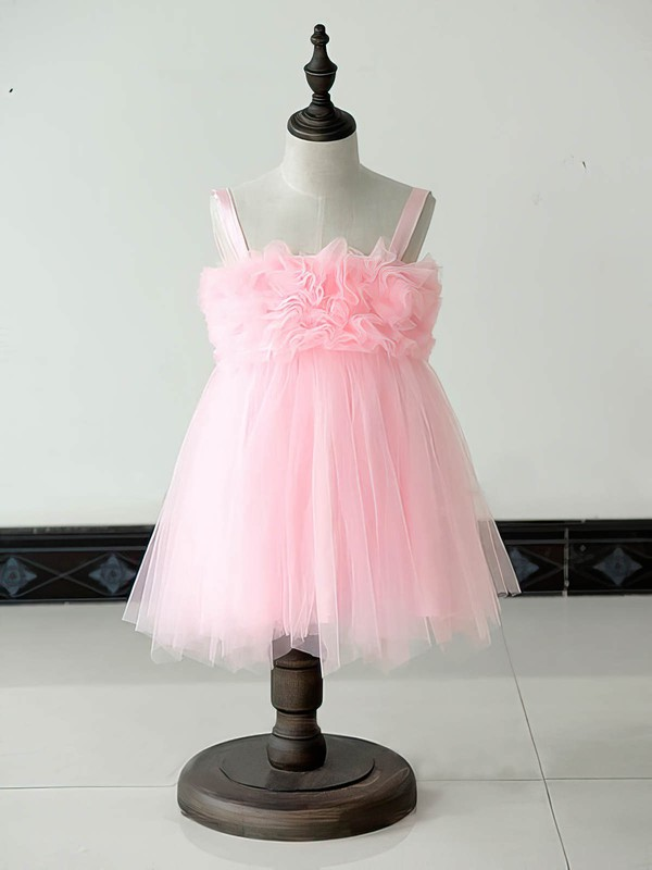 Square Neckline Ruffles Nice Pink Tulle Knee-length Flower Girl Dresses #DOB01031879