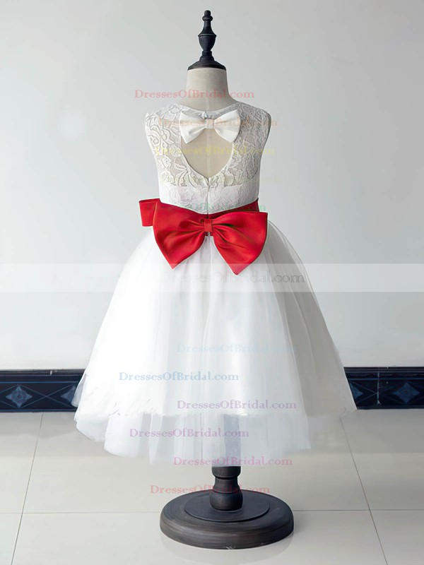 Great Scoop Neck Lace Tulle with Bow White Ankle-length Flower Girl Dresses #DOB01031880