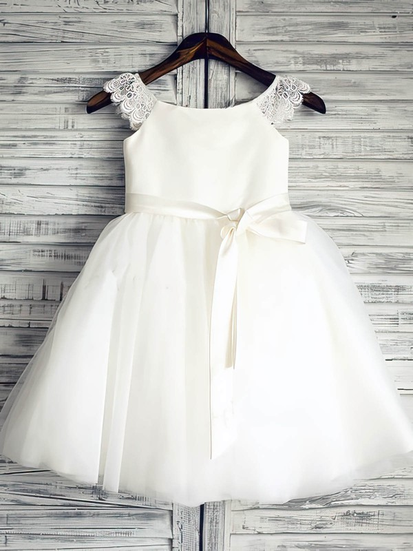 Satin Tulle Good White Sashes/Ribbons Scoop Neck Ankle-length Flower Girl Dress #DOB01031881