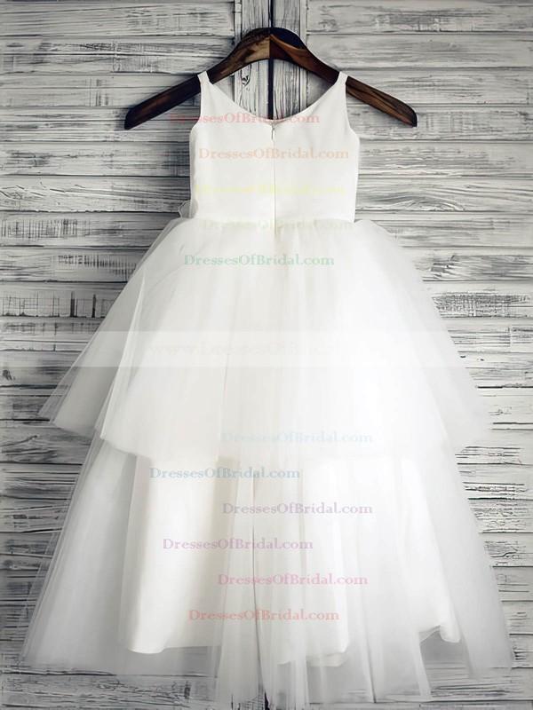 White Tiered Satin Tulle Ball Gown Flower(s) Scoop Neck Online Flower Girl Dress #DOB01031882
