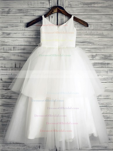White Tiered Satin Tulle Ball Gown Flower(s) Scoop Neck Online Flower Girl Dress #DOB01031882