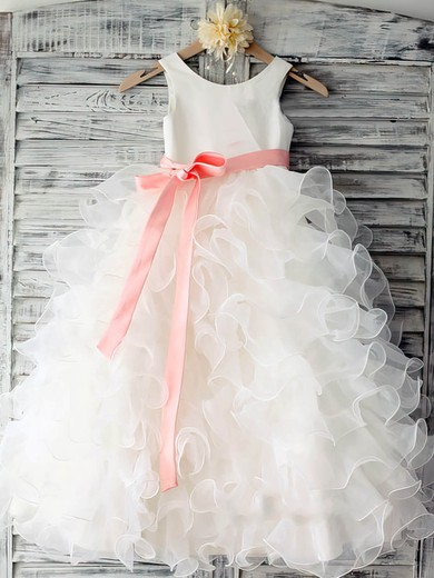 White Tiered Organza Scoop Neck Sashes/Ribbons Pretty Ball Gown Flower Girl Dress #DOB01031883