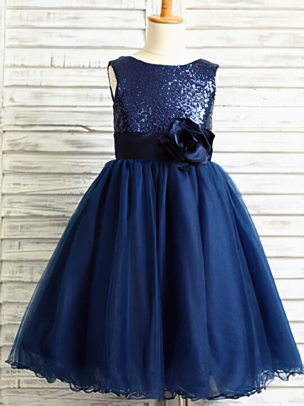 Perfect Ankle-length Tulle Sequined with Flower(s) Royal Blue Flower Girl Dresses #DOB01031884
