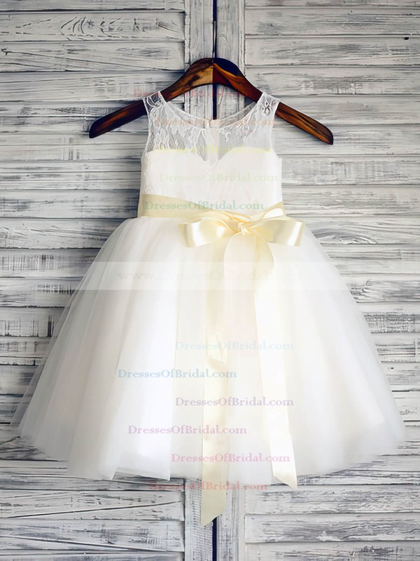 For Cheap Ankle-length Lace Tulle Scoop Neck Sashes/Ribbons Ivory Flower Girl Dresses #DOB01031885