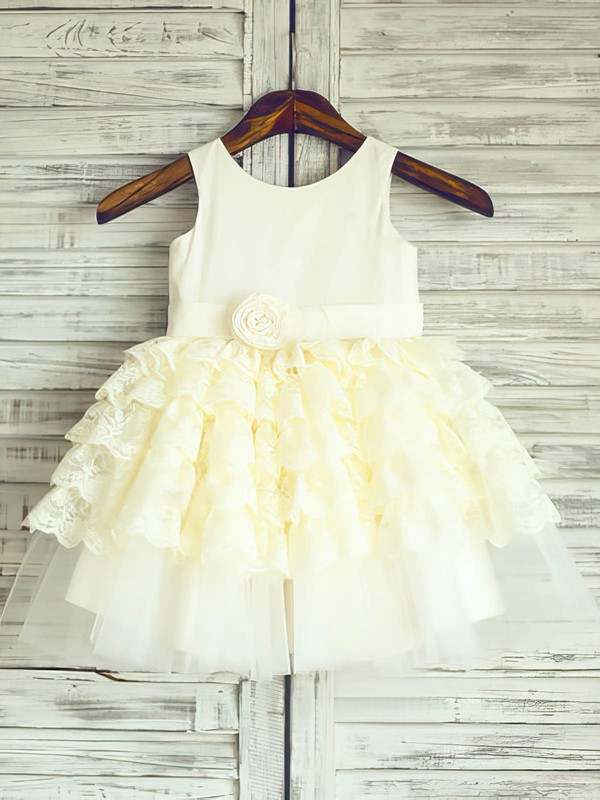 Ankle-length Tiered Lace Satin Tulle Girls Light Yellow Ball Gown Flower Girl Dress #DOB01031886
