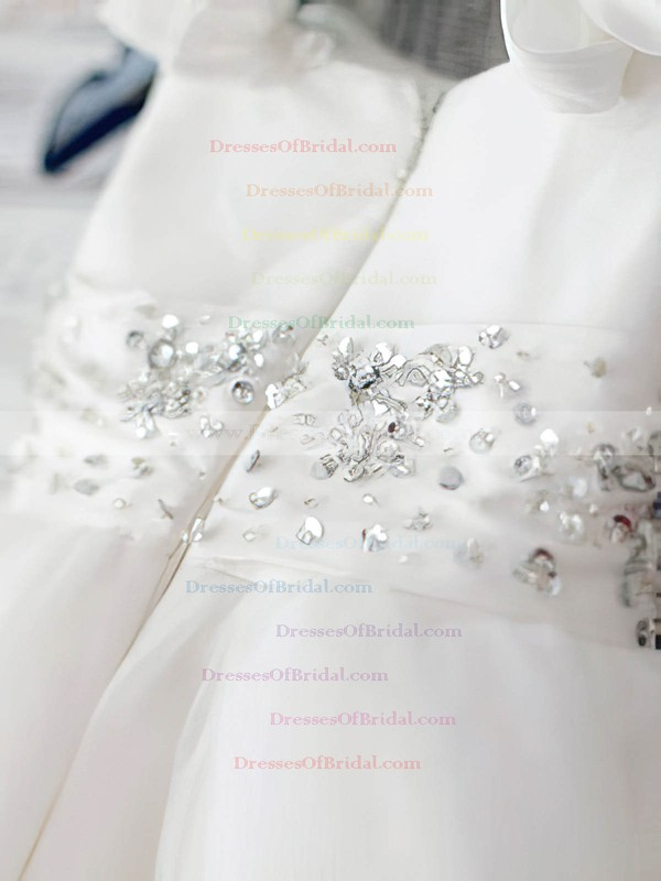 Ball Gown Satin Organza with Beading White Scoop Neck Best Flower Girl Dress #DOB01031887