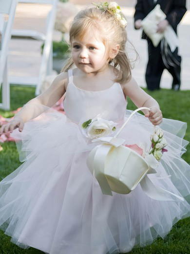 Pink Latest Ball Gown Scoop Neck Tulle Flower(s) Ankle-length Flower Girl Dresses #DOB01031888