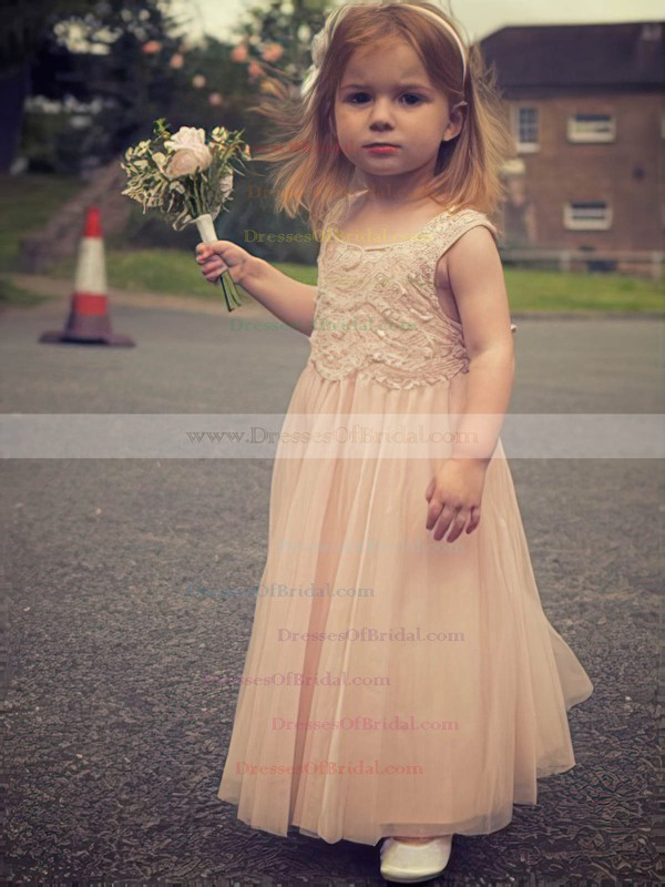 e0061247c Ankle-length Lace Tulle Ruffles Scoop Neck Original Pearl Pink Flower Girl  Dresses #DOB01031889