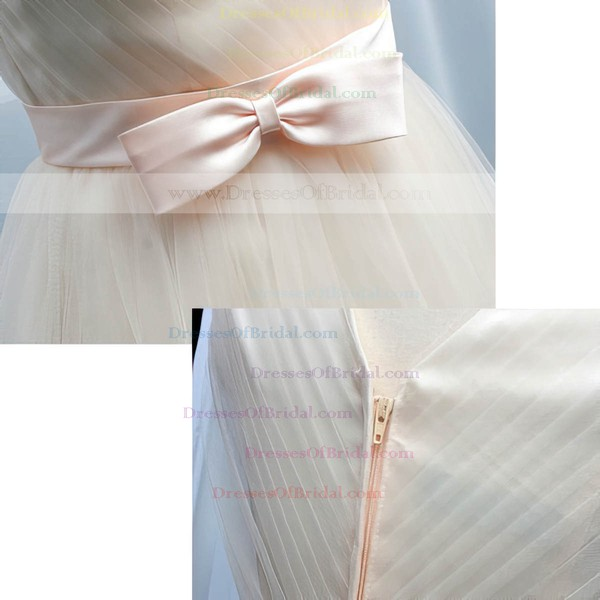 Modern Champagne Tulle with Bow V-neck Knee-length Bridesmaid Dresses #DOB01012105