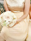 Champagne Knee-length Chiffon Sequined Sashes/Ribbons Great Bridesmaid Dress #DOB01012134