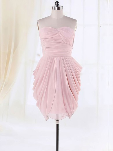 Good Sweetheart Pleats Chiffon Short/Mini Pink Bridesmaid Dresses #DOB01012135
