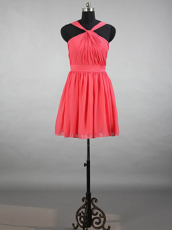 Short/Mini Straps Watermelon Chiffon with Ruffles Perfect Bridesmaid Dresses #DOB01012144