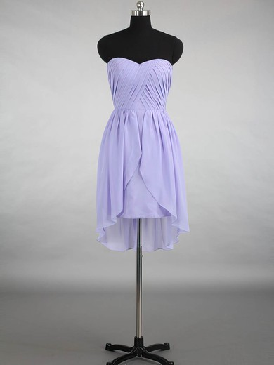 Interesting Lavender Sweetheart Ruffles Chiffon Asymmetrical Bridesmaid Dress #DOB01012145