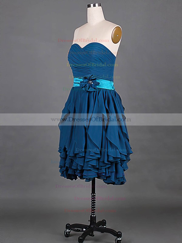 Sweetheart A-line Knee-length Chiffon Tiered Bridesmaid Dresses #DOB01012148