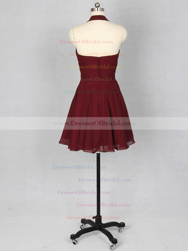 For Cheap Burgundy Ruffles Chiffon Halter Short/Mini Bridesmaid Dress #DOB01012151