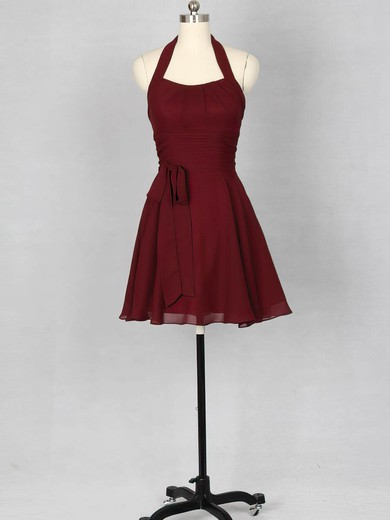 For Cheap Burgundy Ruffles Chiffon Halter Short/Mini Bridesmaid Dress #DOB01012151